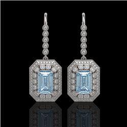 11.32 ctw Aquamarine & Diamond Victorian Earrings 14K White Gold