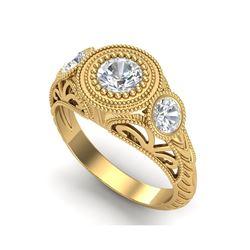1.06 ctw VS/SI Diamond Solitaire Art Deco 3 Stone Ring 18K Yellow Gold