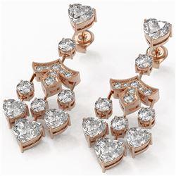 7.5 ctw Heart Diamond Designer Earrings 18K Rose Gold