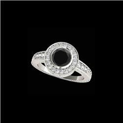 2 ctw Certified VS Black Diamond Solitaire Halo Ring 10K White Gold