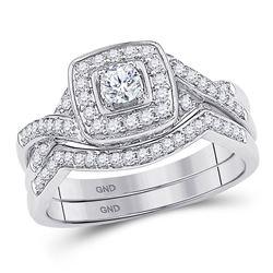10kt White Gold Round Diamond Twist Bridal Wedding Engagement Ring Band Set 1/2 Cttw
