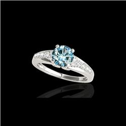 1.40 ctw SI Certified Fancy Blue Diamond Solitaire Ring 10K White Gold