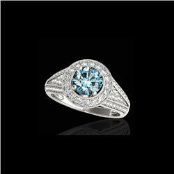 2.17 ctw SI Certified Fancy Blue Diamond Halo Ring 10K White Gold