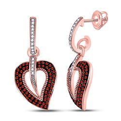10kt Rose Gold Round Red Color Enhanced Diamond Heart Dangle Screwback Earrings 3/8 Cttw
