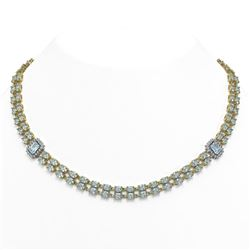 44.4 ctw Aquamarine & Diamond Necklace 14K Yellow Gold