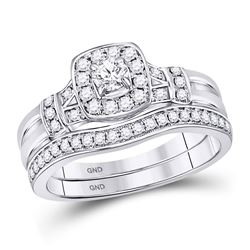 14kt White Gold Round Diamond Square Bridal Wedding Engagement Ring Band Set 1/2 Cttw