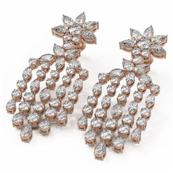 14 ctw Mixed Cut Diamond Designer Earrings 18K Rose Gold
