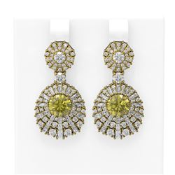 7.73 ctw Fancy Yellow Diamond Earrings 18K Yellow Gold