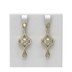 3.84 ctw Cushion Diamond Earrings 18K Yellow Gold