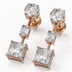 3.5 ctw Princess Cut Diamond Designer Earrings 18K Rose Gold
