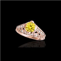 1.25 ctw Certified SI Intense Yellow Diamond Antique Ring 10K Rose Gold