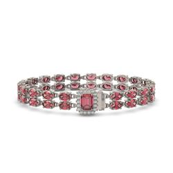 25.96 ctw Tourmaline & Diamond Bracelet 14K White Gold