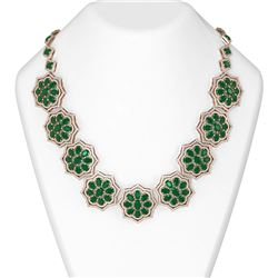 81.71 ctw Emerald & Diamond Necklace 18K Rose Gold