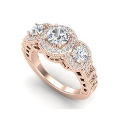 2.16 ctw VS/SI Diamond Solitaire Art Deco 3 Stone Ring 18K Rose Gold