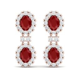 8.98 ctw Designer Ruby & VS Diamond Earrings 18K Rose Gold