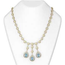 49.4 ctw Aquamarine & Diamond Necklace 18K Yellow Gold