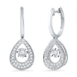 10kt White Gold Round Diamond Teardrop Moving Twinkle Dangle Earrings 1/2 Cttw