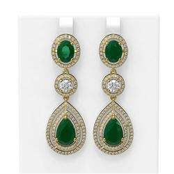 15.82 ctw Emerald & Diamond Earrings 18K Yellow Gold