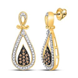 10kt Yellow Gold Round Brown Diamond Teardrop Dangle Earrings 1/3 Cttw