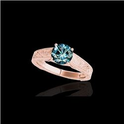 1.5 ctw SI Certified Fancy Blue Diamond Antique Ring 10K Rose Gold