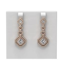 4.21 ctw Princess Diamond Earrings 18K Rose Gold