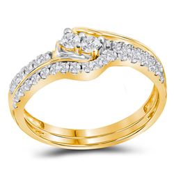 10kt Yellow Gold Round Diamond 2-stone Bridal Wedding Engagement Ring Band Set 1/2 Cttw
