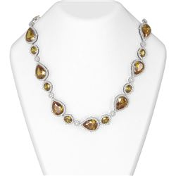 141.73 ctw Canary Citrine & Diamond Necklace 18K White Gold