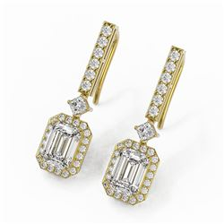 3 ctw Emerald Cut Diamond Designer Earrings 18K Yellow Gold
