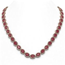 52.15 ctw Ruby & Diamond Micro Pave Halo Necklace 10K Rose Gold