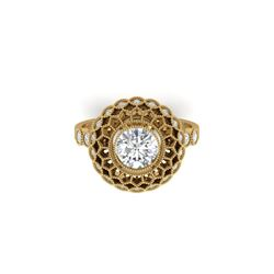 1.5 ctw Certified VS/SI Diamond Art Deco Ring 18K Yellow Gold