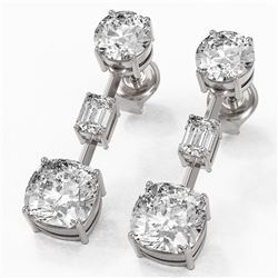 5 ctw Cushion Cut Diamond Designer Earrings 18K White Gold