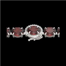 19.25 ctw Garnet & Diamond Eternity Micro Bracelet 14K White Gold