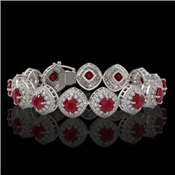 37.35 ctw Certified Ruby & Diamond Victorian Bracelet 14K White Gold