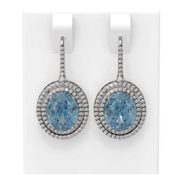 8.01 ctw Blue Topaz & Diamond Earrings 18K White Gold