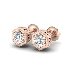 1.15 ctw VS/SI Diamond Solitaire Art Deco Stud Earrings 18K Rose Gold