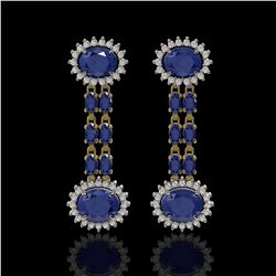 10.23 ctw Sapphire & Diamond Earrings 14K Yellow Gold
