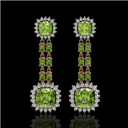 19.88 ctw Peridot & Diamond Earrings 14K Rose Gold