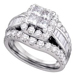 14kt White Gold Princess Diamond Cluster Bridal Wedding Engagement Ring 2.00 Cttw