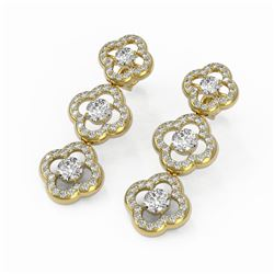 5 ctw Diamond Designer Earrings 18K Yellow Gold