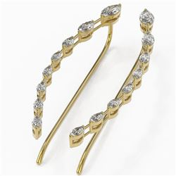 1.74 ctw Marquise Cut Diamond Designer Earrings 18K Yellow Gold