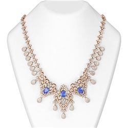 34.93 ctw Tanzanite & Diamond Necklace 18K Rose Gold