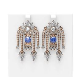 16.23 ctw Tanzanite & Diamond Earrings 18K Rose Gold