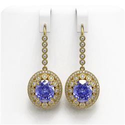 13.82 ctw Tanzanite & Diamond Victorian Earrings 14K Yellow Gold