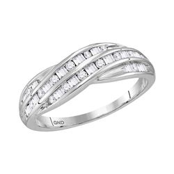 10kt White Gold Round Baguette Diamond Crossover Band Ring 1/3 Cttw
