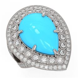 10.53 ctw Turquoise & Diamond Victorian Ring 14K White Gold