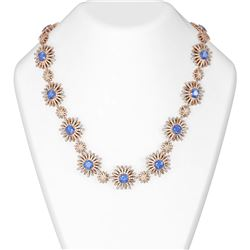 42.03 ctw Tanzanite & Diamond Necklace 18K Rose Gold
