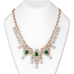 36.43 ctw Emerald & Diamond Necklace 18K Rose Gold