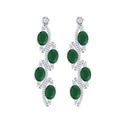 16.12 ctw Emerald & VS Diamond Earrings 18K White Gold