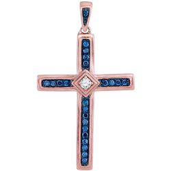 10kt Rose Gold Round Diamond Cross Pendant 1/4 Cttw