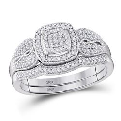 10kt White Gold Round Diamond Square Bridal Wedding Engagement Ring Band Set 1/3 Cttw